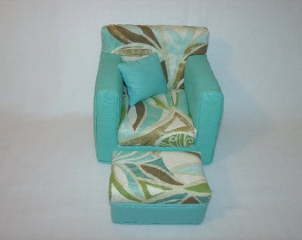 18 Inch Doll Chair, Ottoman,Aqua, Handmade Doll Furniture