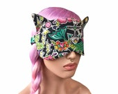 Sleep Mask Cat Ears Mermaid Tattoo Fabric