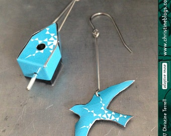 Teeny Blue Bird and House -- Upcycled Tin Earrings