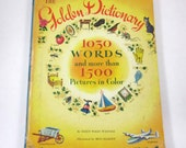 The Golden Dictionary Vintage 1940s Over Sized Reference Book for Children by Ellen Wales Walpole Illustrated by Gertrude Elliott
