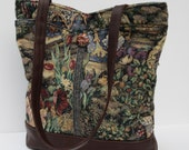 TOTE BAG Tapestry and Leather Floral Garden