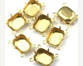 50% Off Sale Prong Settings Connector Octagon Raw Brass 10x8mm Closed Back 4 Rings (8) FI627
