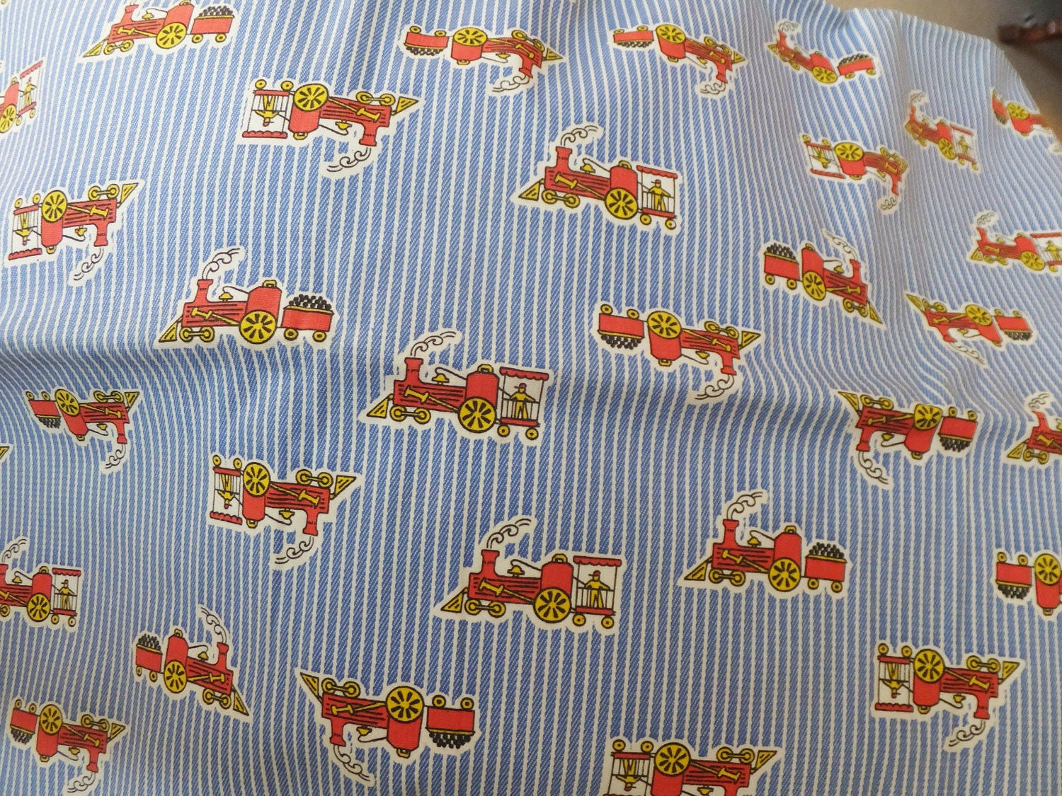 Vintage train fabric mid century children 39 s fabric for Kids train fabric