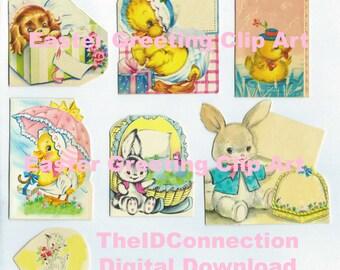 Vintage Digital Collage Sheet, Easter Mid Century Graphics Instant Download, Easter Rabbit, Bunny, Peeps, Chicks, Ducks, Easter Basket