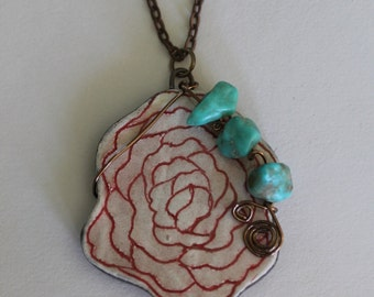 Hand Made Stoneware Pendant Necklace Red Rose Vintage Turquoise Copper #2