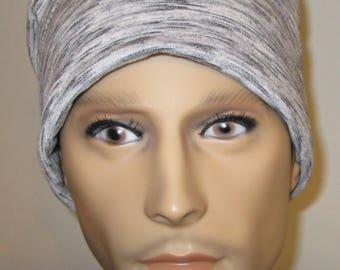 Men's Chemo Cancer cj hats Gray Black Roll Up Cap Soft Knit Cotton Stretch Black, Gray Mix