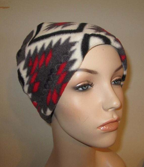 Fleece Comfy Cap Ethnic Print  Cancer  Anti Pill Fleece Hat, Winter Hat, Cancer, Chemo Hat,