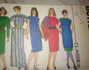 Vintage 80s Sewing Pattern Butterick 4648 Women's Dress Tunic and Skirt