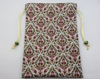 Damask Rose Silk Lined Tarot Card Pouch, Tarot Card Bag