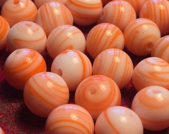 Vintage Glass Beads (7mm)(24) Handmade Orange & Cream Japanese Beads