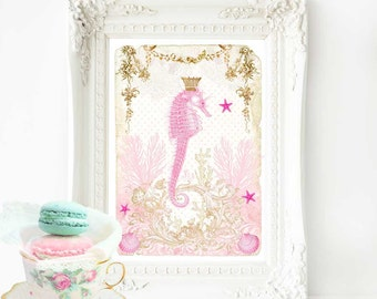 Seahorse print for nursery, beach house decor, nautical, ocean print with shells in pink and gold