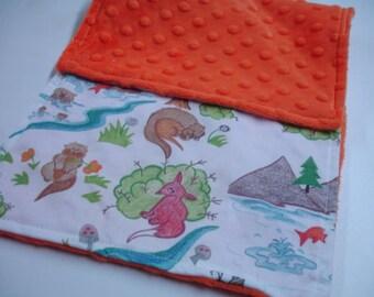 Otterly Fun Baby Burp Cloth with Orange Minky 8 X 17 READY TO SHIP