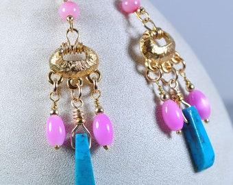 Gold and pink dangle earrings | turquoise drop earrings | pink earrings