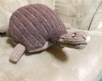 Wool Stuffed Plush Turtle Made from Recycled Sweater