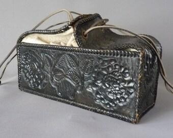 Vintage Leather Purse | Hand Tooled Leather Bag | Ladies Purse | 1950s 50s Handbag | Floral Flower Purse