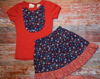 AMERICANA Girls Red Bib Style Tee with skirt size 8   July 4 RED WhITe & BLUE  patriotic Ready to Ship!