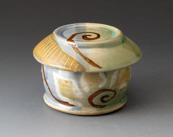 French Butter Dish with Flower Motif, Handmade Butter Crock, Butter Dishes, Butter Keeper, Covered Bowl, Fine Art Ceramics,
