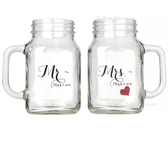Custom wedding Mr and Mrs mason jar glasses set of two glassware glass mugs 16oz 16 ounces made to order rustic home country wedding