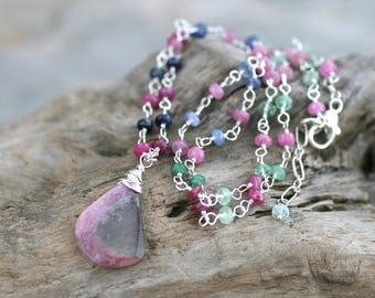 Multi Color Sapphire Necklace, Watermelon Tourmaline Gemstone Pendant, Sterling Silver Wire Wrapped,Petite Gemstone Necklace,Pink,Blue,Green