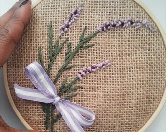 """Embroidery Hoop Lavender Flowers on Burlap 6"""" READY TO SHIP"""