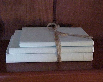 On Sale~~3 ANTIQUE Books~PAINTED Light Blue~Farm-House Decor~Country FRENCH~Shabby Chic~Coffee Table Art~Book Stack~Photo Prop~Book Bundle