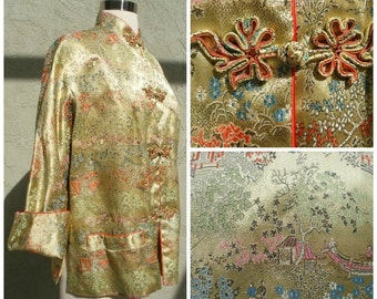 50s Asian jacket in golden yellow silk print of pagodas, fishing,  floral print, red rolled trim, mandarin collar, frog buttons, size S-M.
