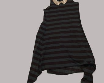 Stripey Knit tank dress with flat beaded collar detail