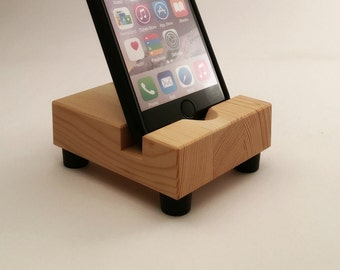 Butcher Block Style Device Holder iPhone Stand in Reclaimed Wood, Recycled Home Decor, Rustic