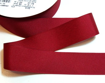 Burgundy Red Ribbon, Cranberry Red Grosgrain Ribbon 1 1/2 inches wide x 50 Yards, Offray Ribbon