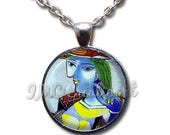 20% OFF - Wearable Art Picasso Woman Seated Glass Dome Pendant or with Chain Link Necklace  AN149