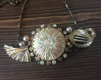 Vintage Assemblage Collage Statement Necklace Pink Cream Gold Wings Rhinestones Pearls Fantasy Dream Happy