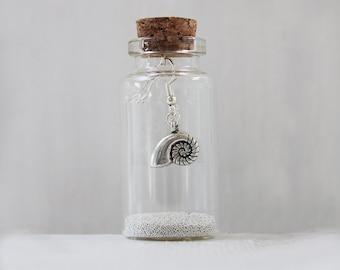 Ammonite Earrings In A Little Bottle