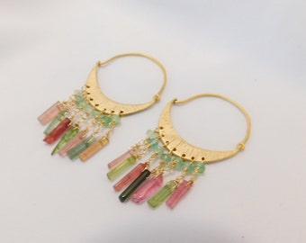 Tourmaline Earrings - Gold Hoops - Hoop Earrings - Tourmaline Jewelry