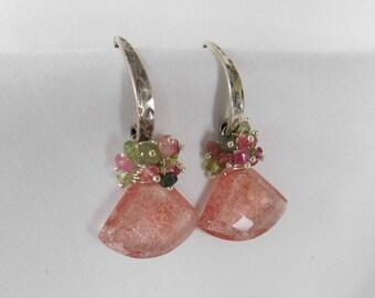 Pink Earrings - Silver Earrings - Tourmaline Earrings - Green Earrings - Boho - Tourmaline