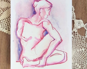 Mounted Print Pink-Purple Twist Figure Drawing - Yoga Wall Decor