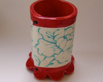 Whimsical pottery Utensil Holder - Vase Pencil Cup  home decor, colorful floral red & turquoise ceramic vessel with peonies