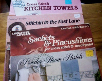 Four Counted Cross Stitch booklets-- designs for   handtowels, kitchen towels, pincushions, and sachets