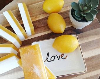 Citrus Lemon Soap. LEMON LANE Salt Bar Soap. Handmade Natural Soap. Natural Glycerin. Gift for Her. Mom Gift. Gifts for the Cook. Mom Gift