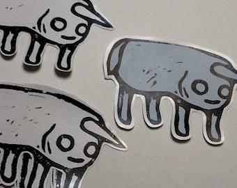 5 hand stamped burrito unicorn stickers