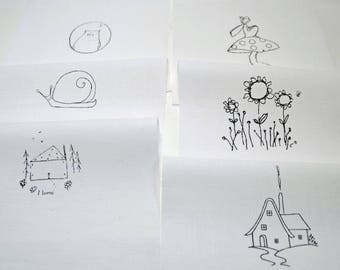 Craft Designs pack 6 different images - Fairy, house, snail, home, flowers and Owl - hand printed onto white cotton for craft projects