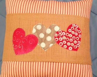 Valentine Hearts Burlap Pillow Wrap