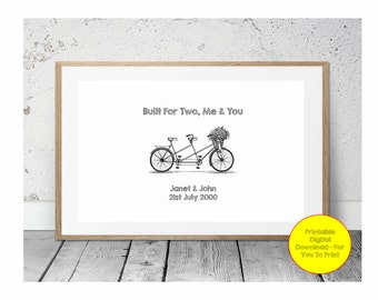 JPEG - Printable - Tandem - Bike - Bicycle - Engagement - Anniversray - Couple - Custom - DIY Print