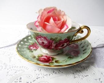 Vintage Teacup and Saucer Pink Green Rose - Weddings Bridal