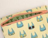 Cute Cat Zipper Pouch Illustrated Cat Print Fabric Wallet