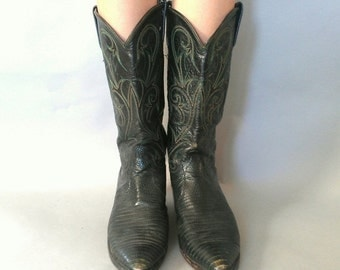 20% OFF SALE size 9, vintage 1980s Green & Black Snakeskin Cowboy Boots -  Dan Post