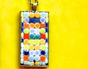 Pendant. Necklace. Mosaic Pendant. Pendant. Glass Ceramic Pendant. Tiny Tiles Pendant. Geometric pendant. Colorful Necklace. Geometric Fun