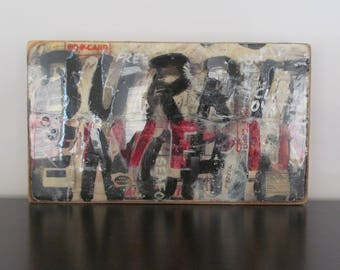 Burrito Oyster - mixed media on wooden cigar box top, ready to hang,