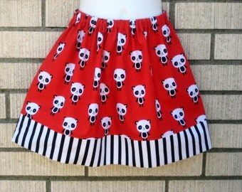 Black and white Panda on red with stripes Girls skirt , 6M to size 8