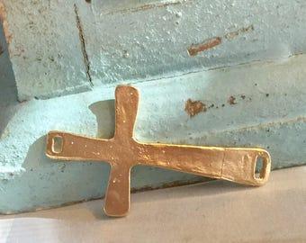 Gold Cross Link Matte over Sterling Silver Sideways Cross