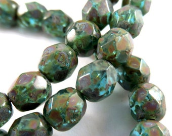 25 Czech Glass Picasso Bead 6mm Aqua Transparent Fire Polished Green Faceted Round - 25 pc - G6035-AP25